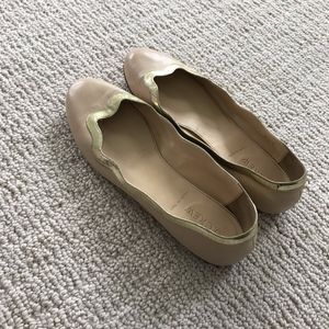 J. Crew Nude and Gold Flats